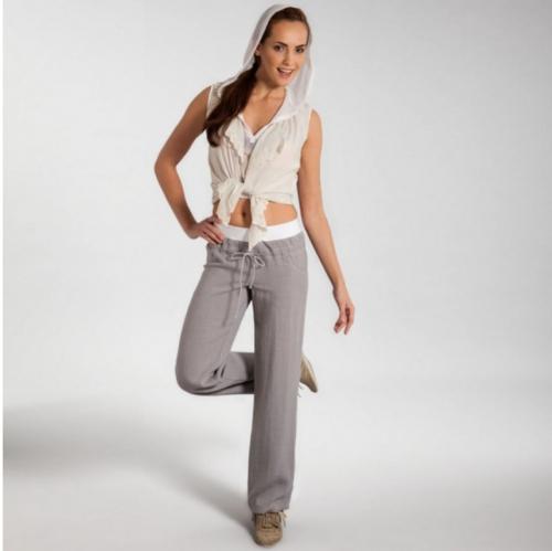 Серые льняные брюки