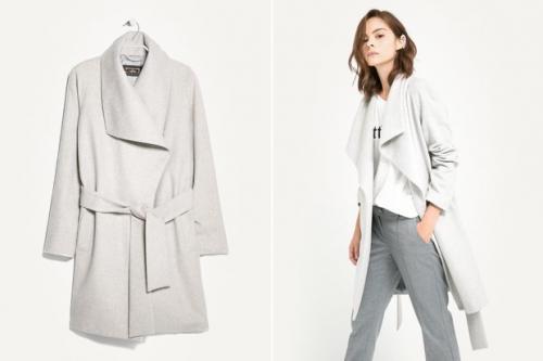 Белое пальто и серые брюки
