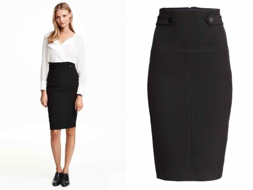 Черная юбка-карандаш с белой блузкой