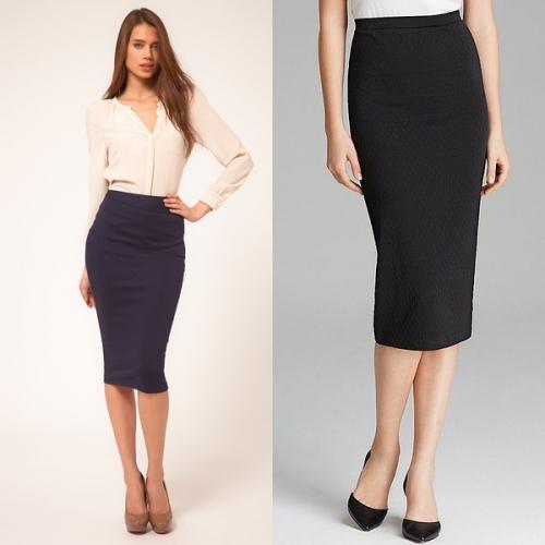 Черная юбка-карандаш со светлой блузкой