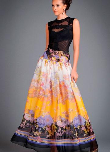 Желтая шифоновая юбка в пол