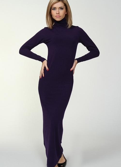 Фиолетовое платье-водолазка в пол