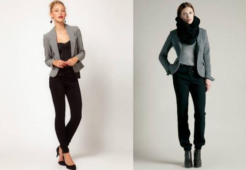 Образы девушек с серым пиджаком