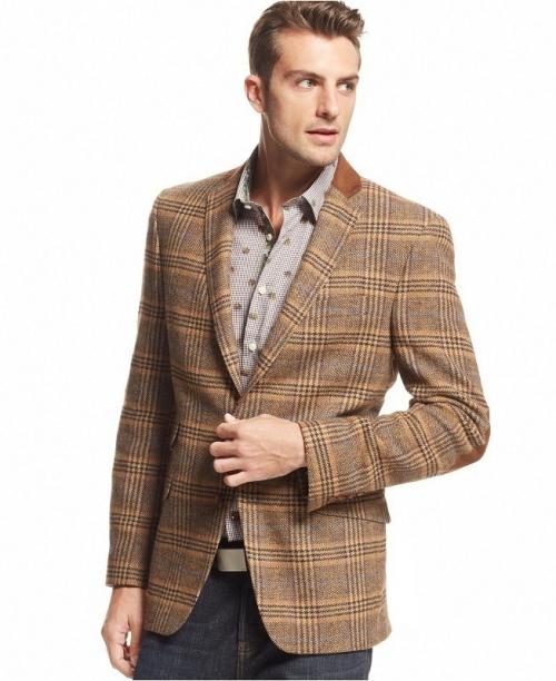 Коричневый клетчатый пиджак