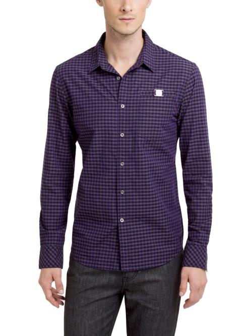 Фиолетовая мужская рубашка в мелкую клетку