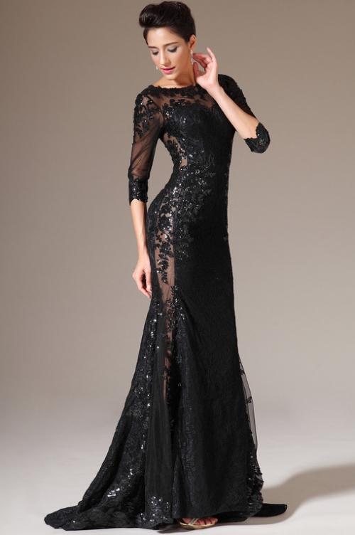 Платье с кружевом в пол