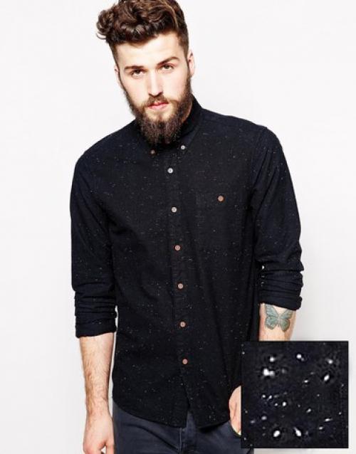 Черная мужская рубашка в крапинку
