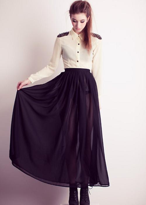 Черная прозрачная юбка с рубашкой
