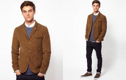 Коричневый пиджак на мужчине