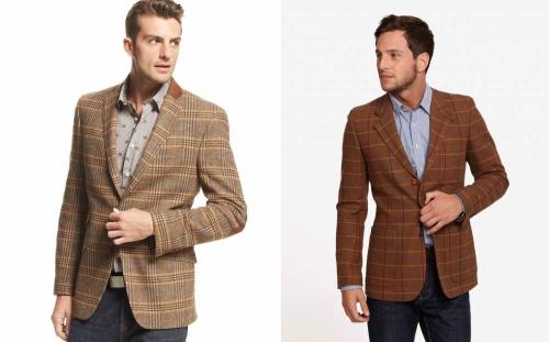 Клетчатые коричневые мужские пиджаки