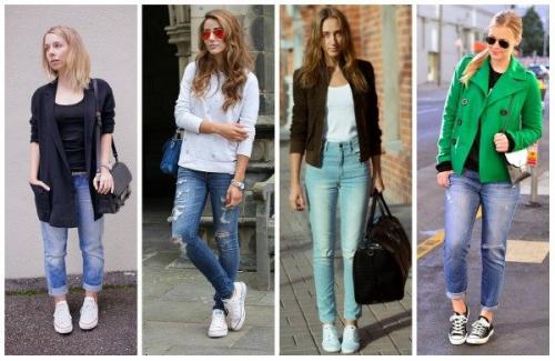 Сочетание высоких кедов и джинсов