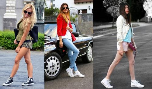Кеды с джинсами на девушке