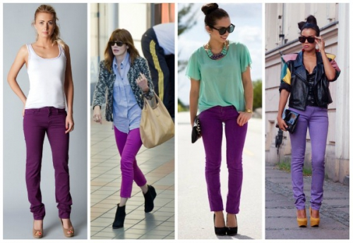 Девушки в фиолетовых брюках