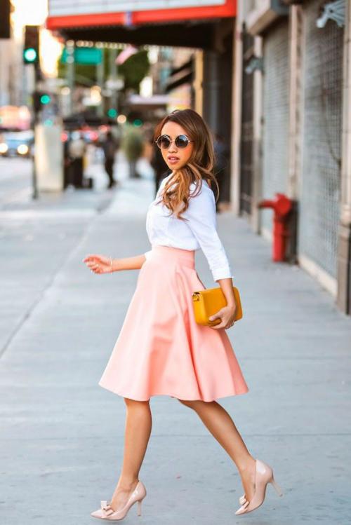 Юбка-миди розовая и белый верх