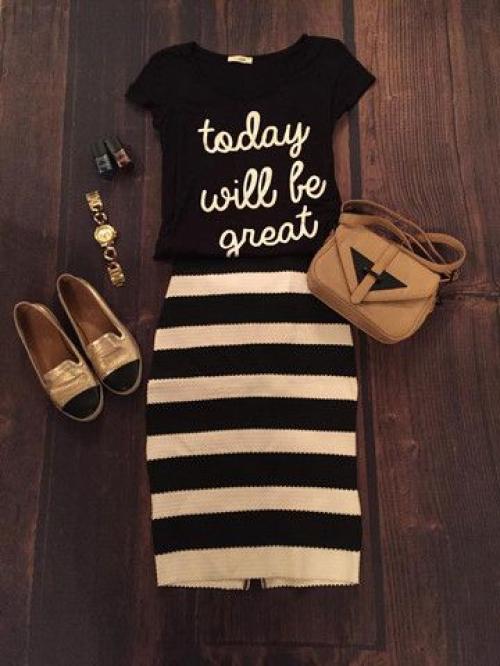 Полосатая юбка-карандаш