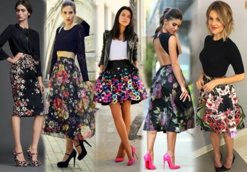 Черные юбки в цветочек
