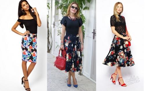 Черная юбка в цветок на девушках