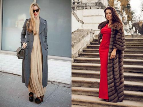 Девушки в длинных платьях, пальто и шубе