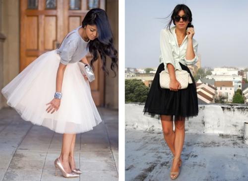 Пышная юбка белого и черного цвета