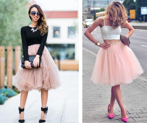 Бежевая и розовая пышная юбка