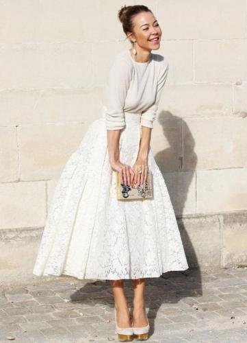 Персиковая юбка-солнце