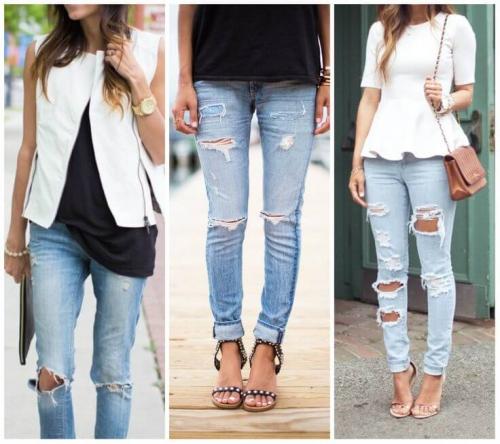 Рваные джинсы с разнообразной обувью