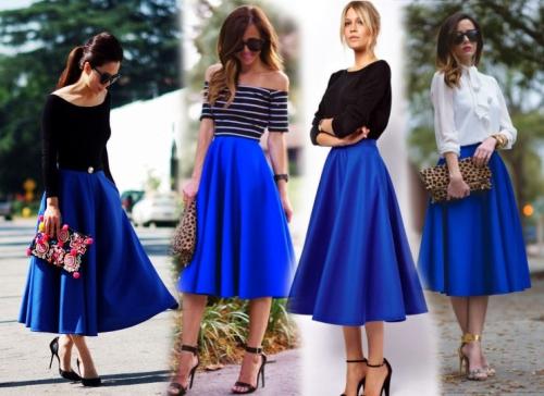 Синяя и пышная юбка-миди на девушках