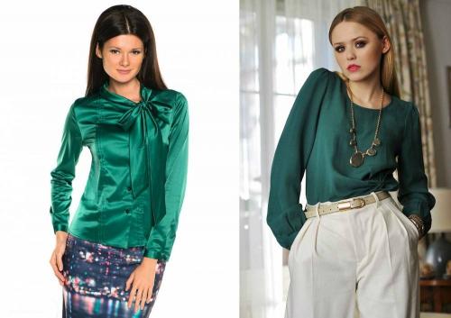 Зеленая блузка на девушках