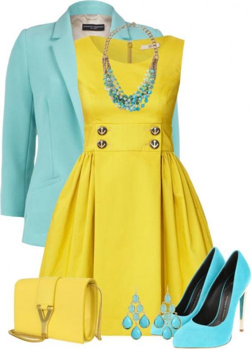 Желтое платье и бирюзовые аксессуары