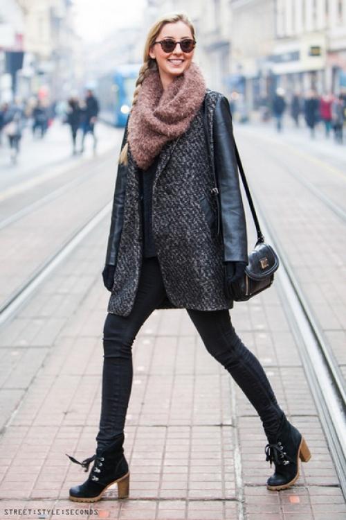 Пальто-пиджак на девушке