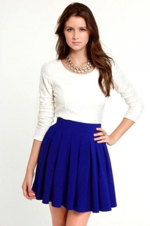 Синяя пышная юбка