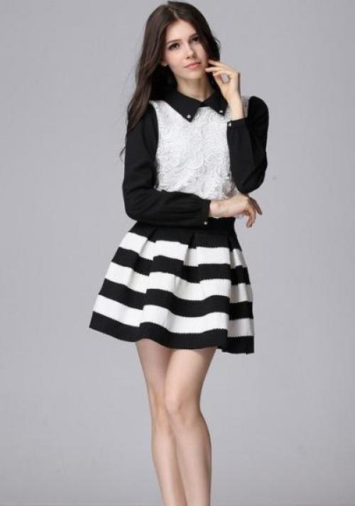 Черно-белая юбка и кофта