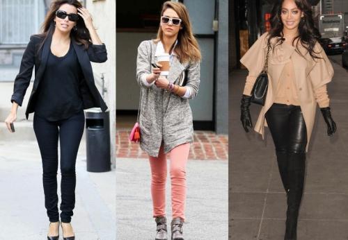 Узкие цветные брюки для девушек