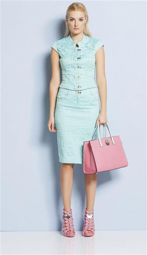 Мятная облегающая юбка