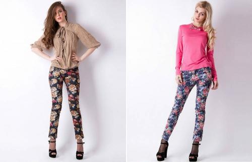 Цветные брюки на девушках