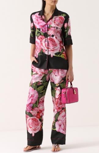 Мятные брюки в цветок