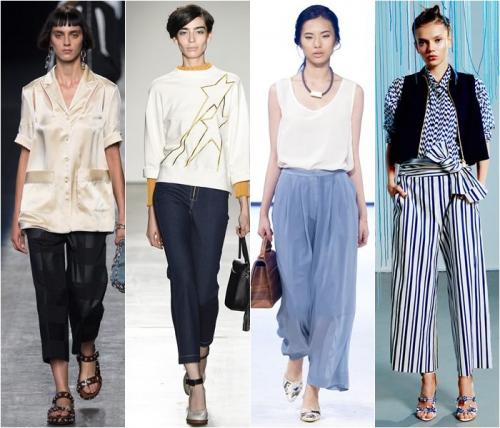Укороченные широкие брюки на девушках