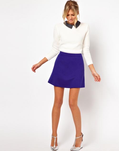 Синяя юбка-трапеция
