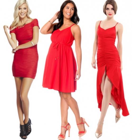 Короткое красное платье и туфли
