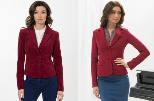 Бордовый пиджак на девушке