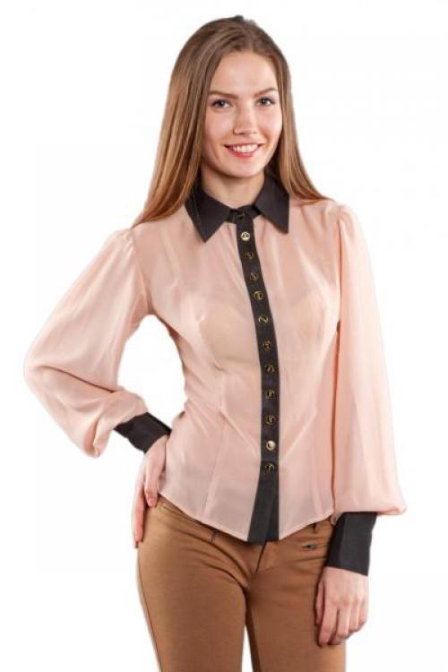 Прозрачная бежевая блузка