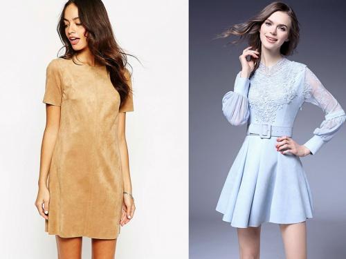 Бежевое и светло-голубое замшевое платье