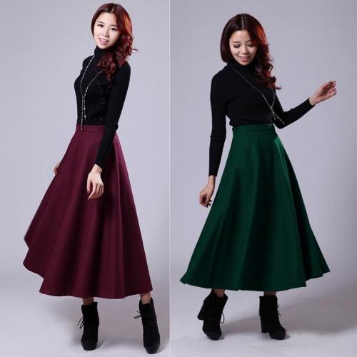Бордовая и зеленая шерстяные юбки