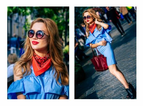 Девушка в голубом платье и красном шейном платке