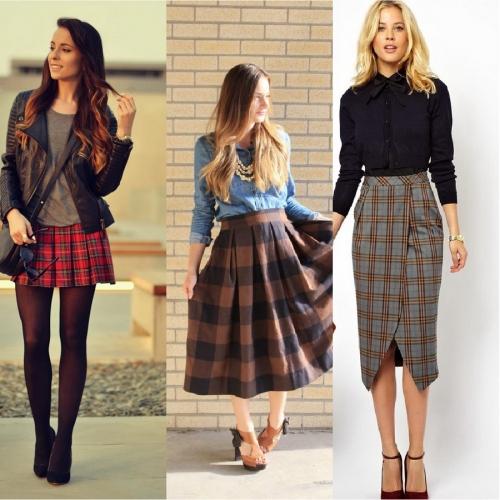 Клетчатые юбки на девушках