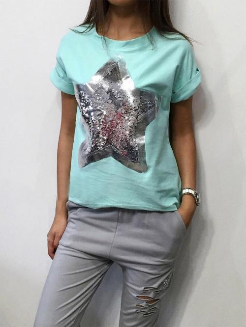 Мятная футболка со звездой
