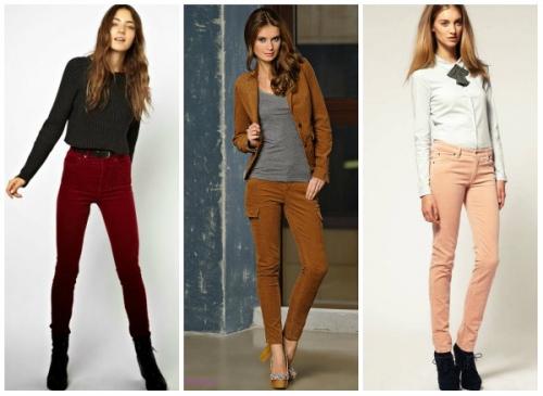 Разноцветные джинсы на девушках