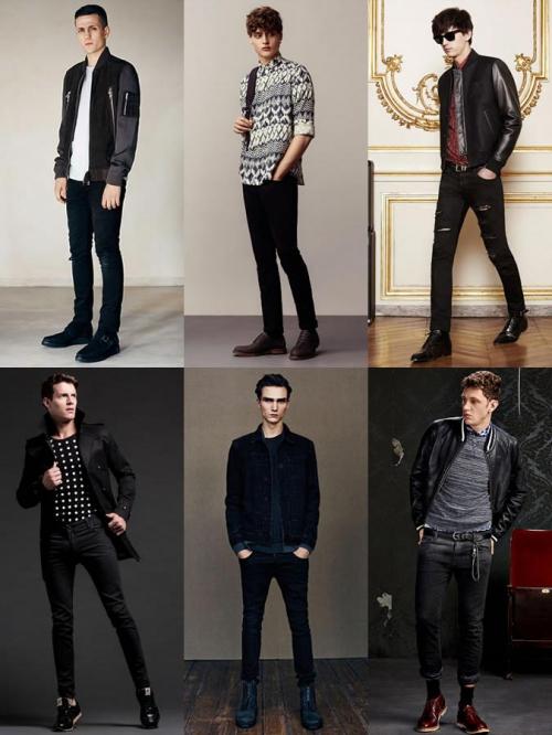 Различные варианты черный мужских джинсов