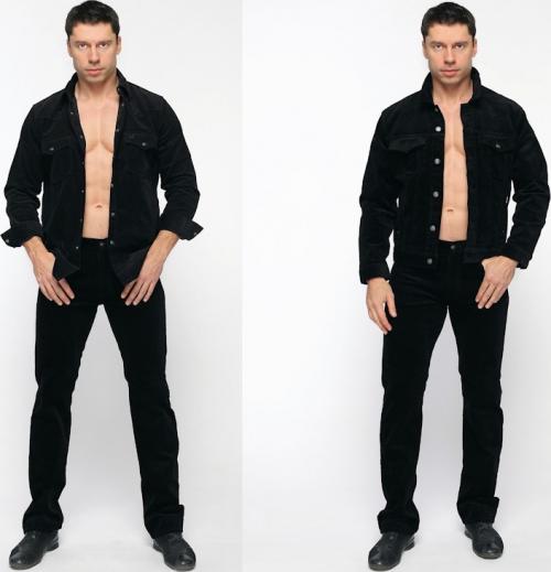 Черные джинсы и рубашка