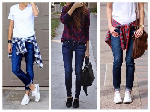 Варианты сочетания джинсов скинни и рубашек